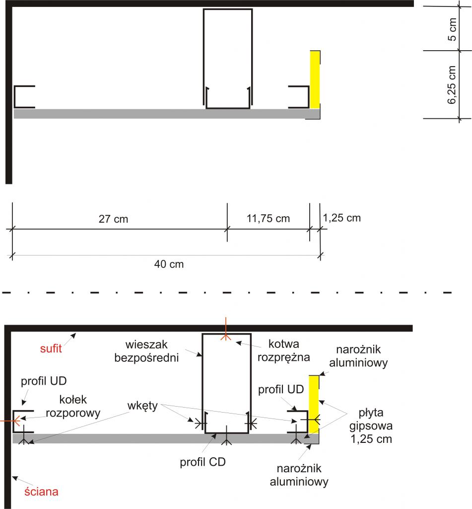 Półka z podświetleniem pod sufitem - jak wykonać