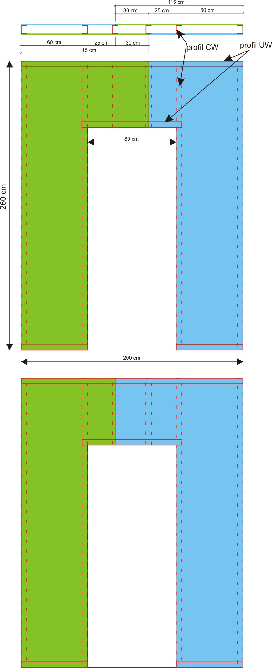 Ściana z płyt gipsowych - przesunięcie łączeń płyt g/k